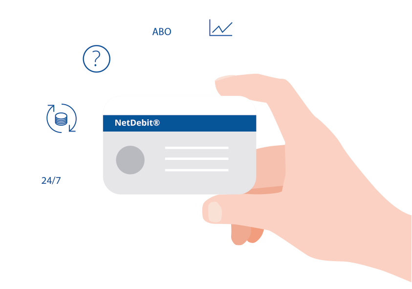 Illustration of a hand with a credit card. To the credit card, icons are to the benefits